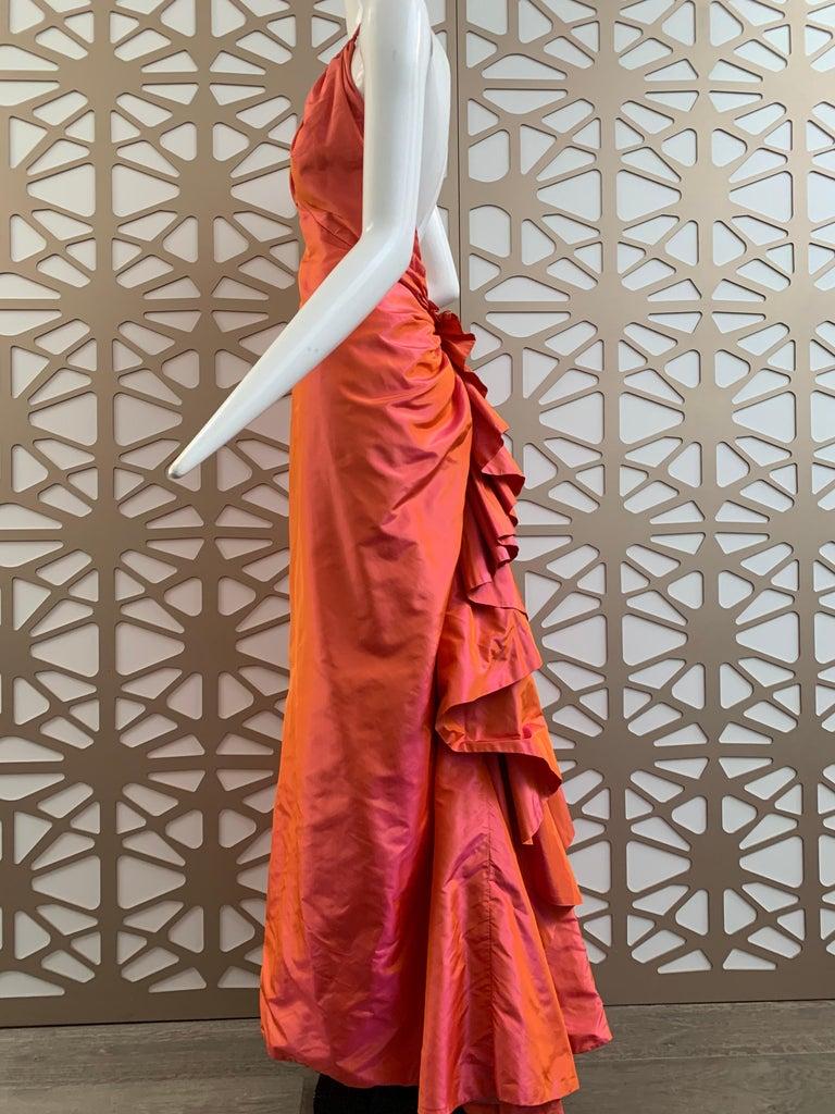 1990s Michael Casey Couture Coral Taffeta Halter Gown W/ Ruffle Bustle Train For Sale 5