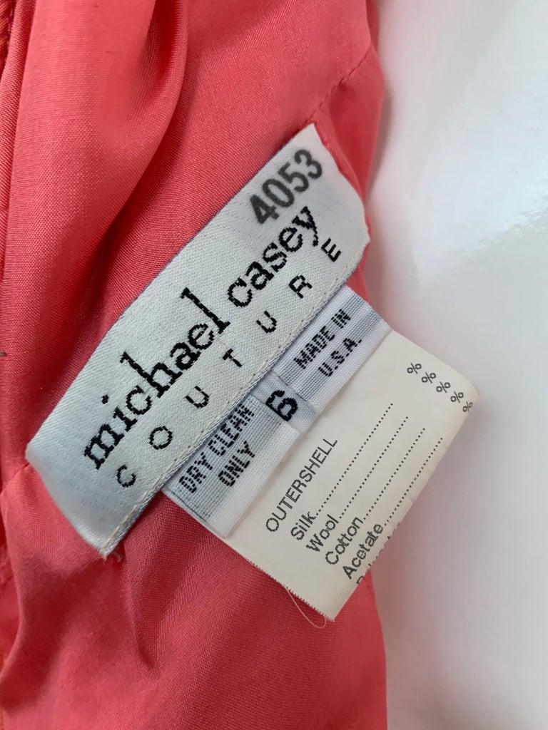 1990s Michael Casey Couture Coral Taffeta Halter Gown W/ Ruffle Bustle Train For Sale 6