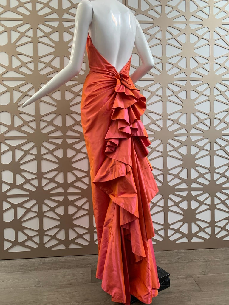Red 1990s Michael Casey Couture Coral Taffeta Halter Gown W/ Ruffle Bustle Train For Sale