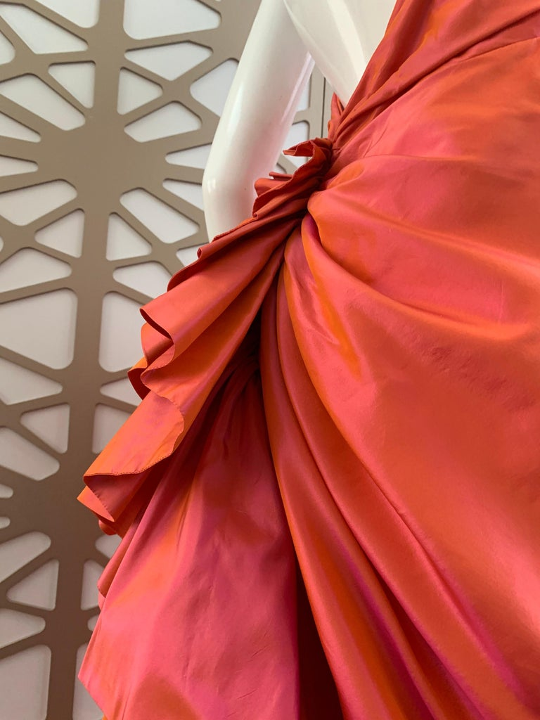 1990s Michael Casey Couture Coral Taffeta Halter Gown W/ Ruffle Bustle Train In Excellent Condition For Sale In San Francisco, CA
