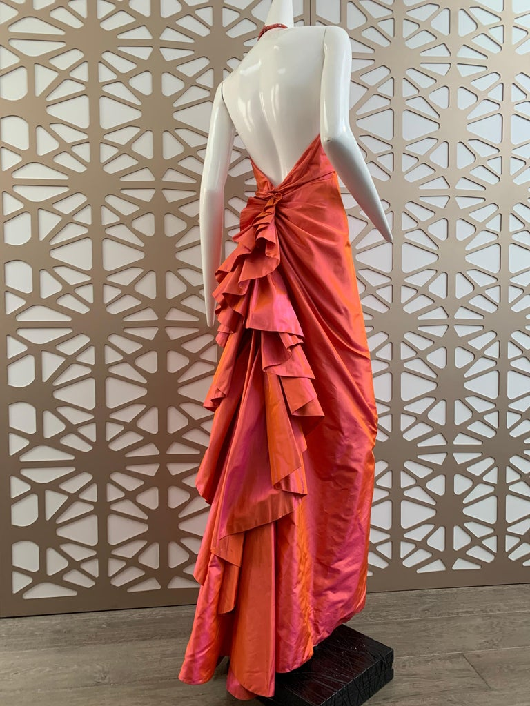 Women's 1990s Michael Casey Couture Coral Taffeta Halter Gown W/ Ruffle Bustle Train For Sale