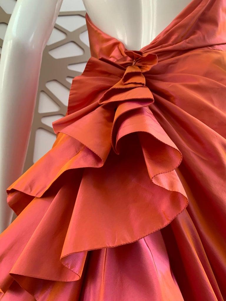 1990s Michael Casey Couture Coral Taffeta Halter Gown W/ Ruffle Bustle Train For Sale 1