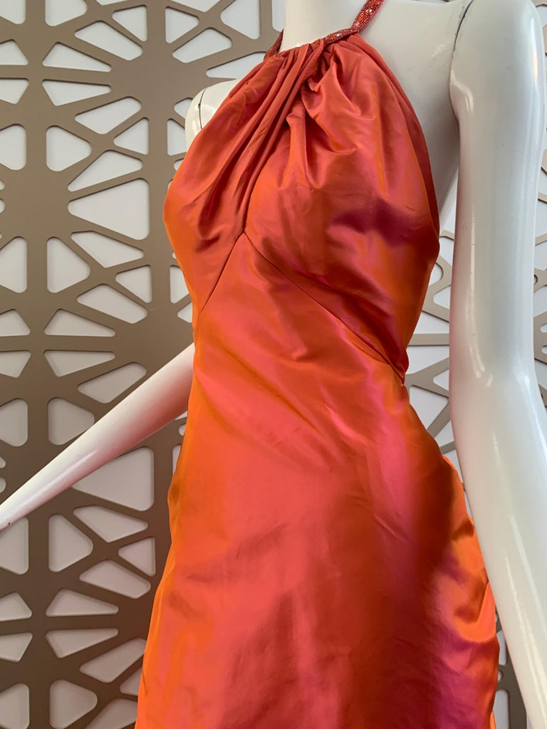 1990s Michael Casey Couture Coral Taffeta Halter Gown W/ Ruffle Bustle Train For Sale 4