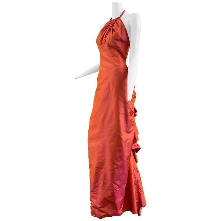 1990s Michael Casey Couture Coral Taffeta Halter Gown W/ Ruffle Bustle Train For Sale