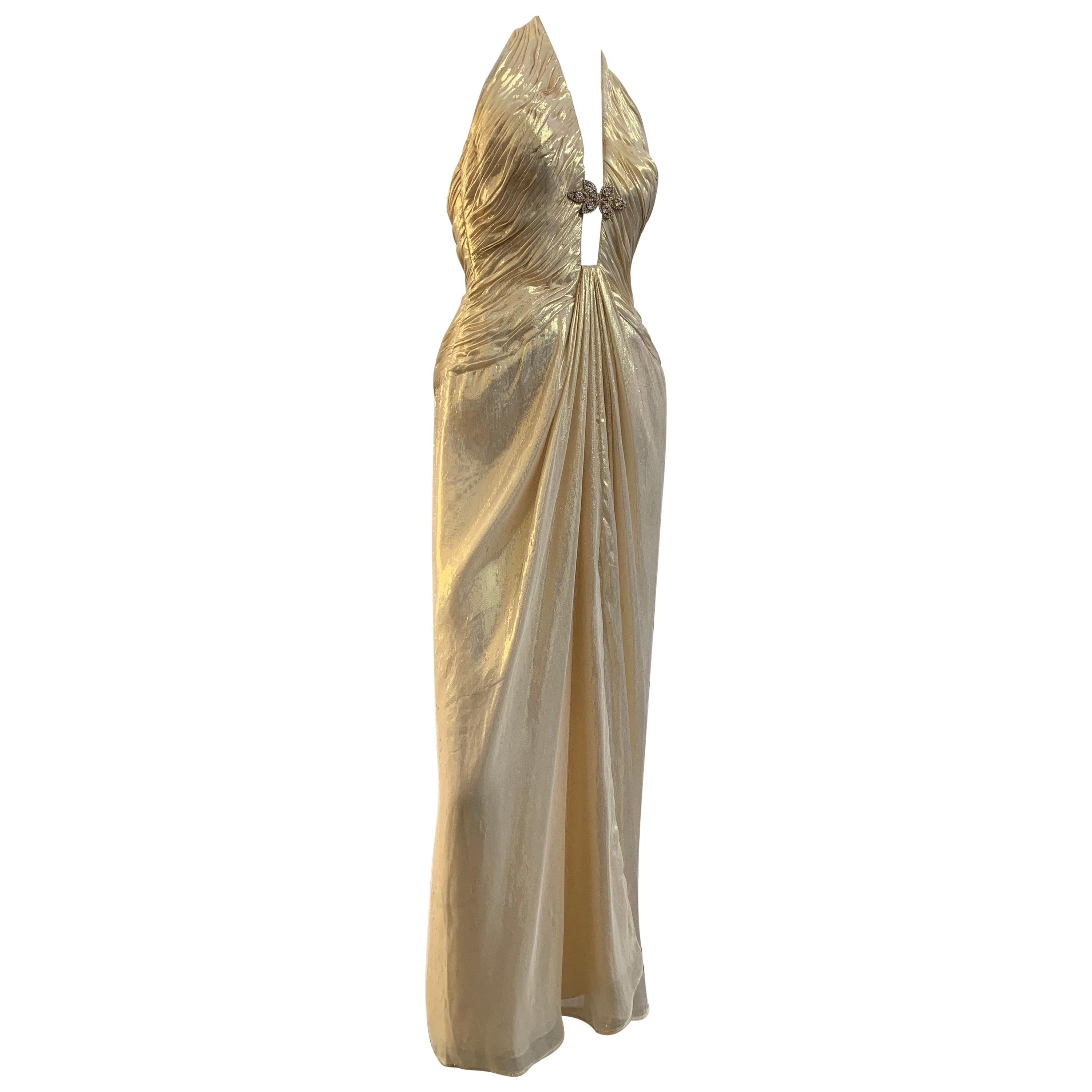 1990s Michael Casey Couture Gold Lame Goddess Gown W/ Halter Neck & Deep V