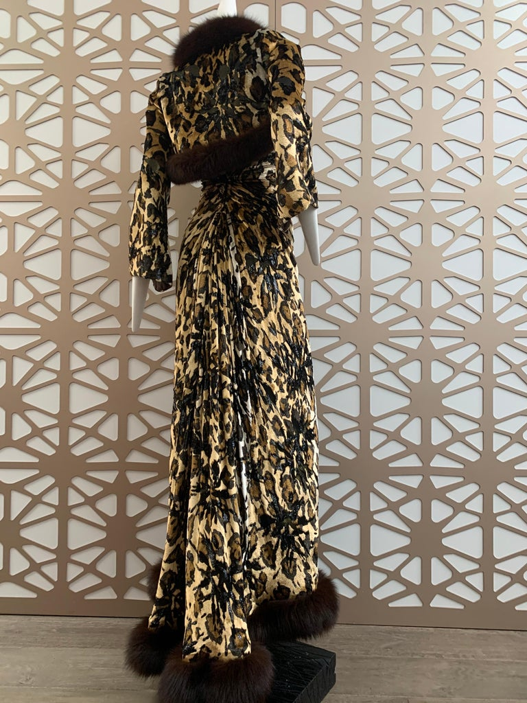 1990s Michael Casey Couture Leopard Burn-Out & Lame Velvet 2-Piece Evening Gown For Sale 5