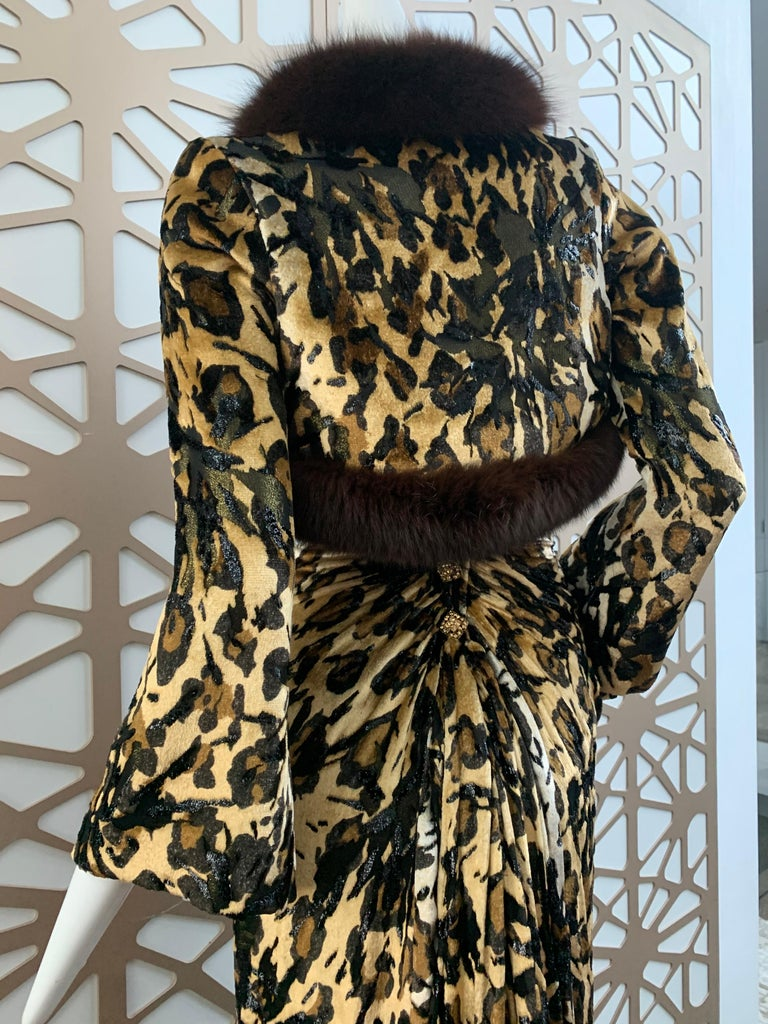 1990s Michael Casey Couture Leopard Burn-Out & Lame Velvet 2-Piece Evening Gown For Sale 6