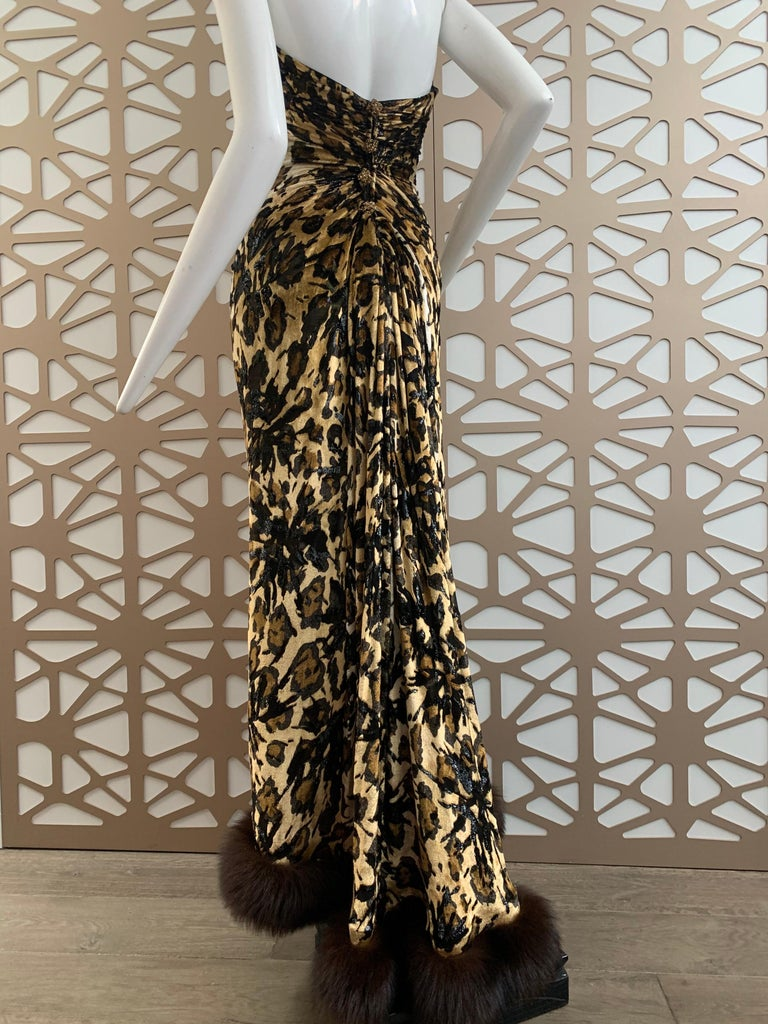 1990s Michael Casey Couture Leopard Burn-Out & Lame Velvet 2-Piece Evening Gown In Excellent Condition For Sale In San Francisco, CA