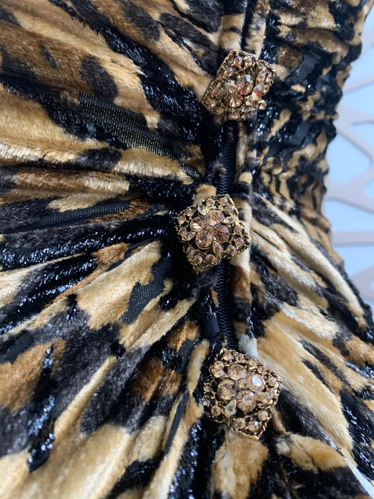 1990s Michael Casey Couture Leopard Burn-Out & Lame Velvet 2-Piece Evening Gown For Sale 1