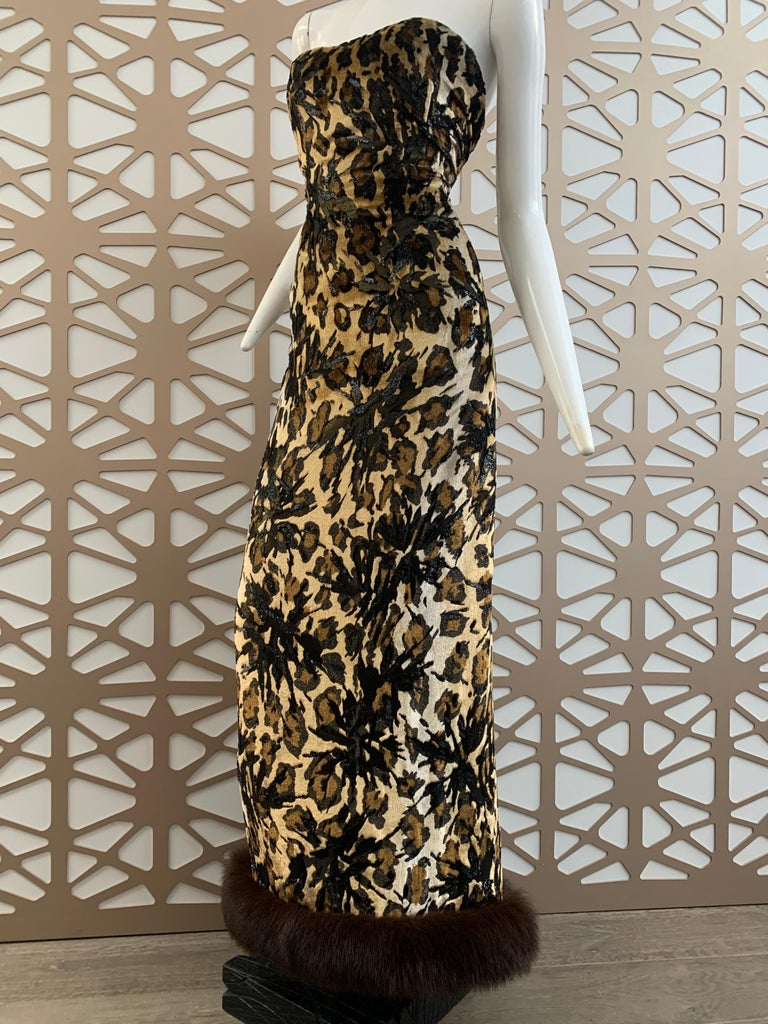 1990s Michael Casey Couture Leopard Burn-Out & Lame Velvet 2-Piece Evening Gown For Sale 2