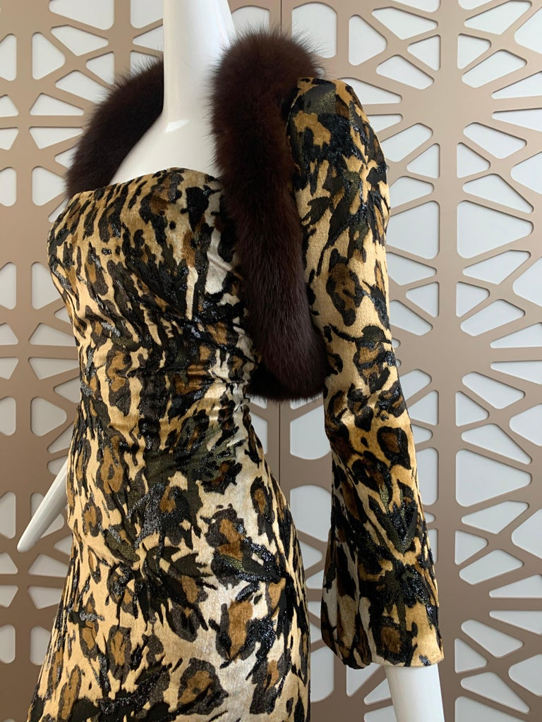 1990s Michael Casey Couture Leopard Burn-Out & Lame Velvet 2-Piece Evening Gown For Sale 3