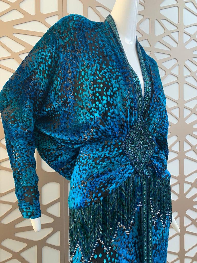 1990s Michael Casey Peacock-Toned Velvet Halter Gown & Bead Fringe Dolman Jacket For Sale 5