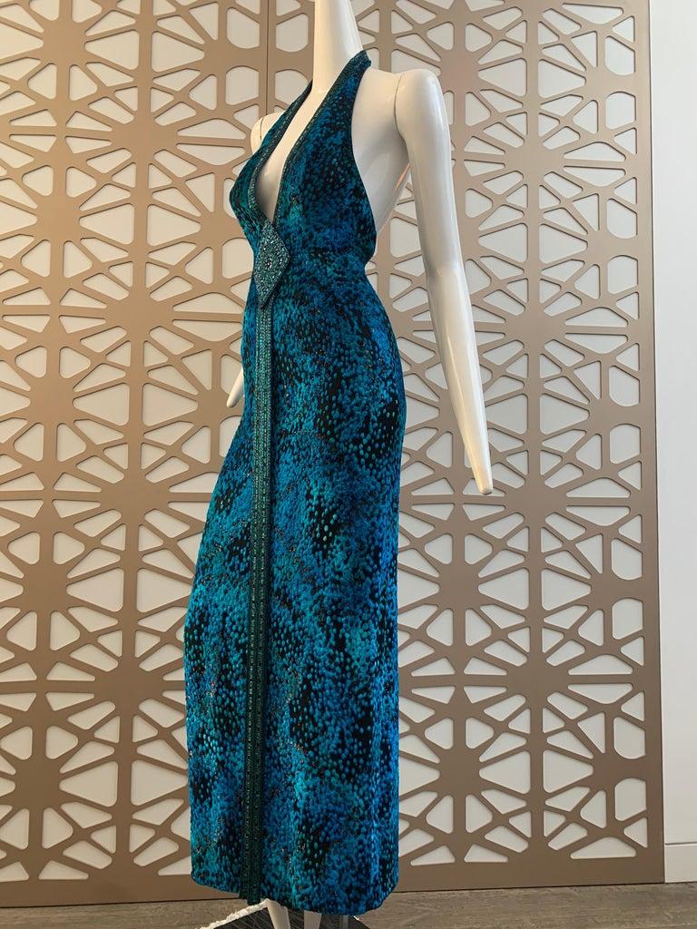 1990s Michael Casey Peacock-Toned Velvet Halter Gown & Bead Fringe Dolman Jacket For Sale 6