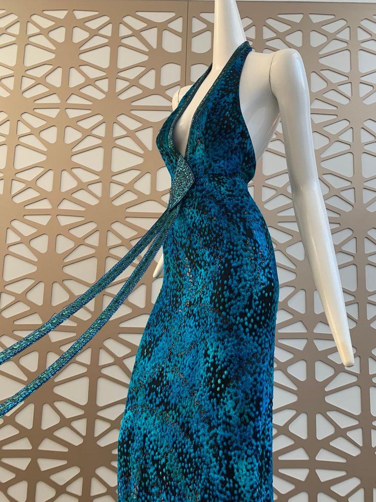 1990s Michael Casey Peacock-Toned Velvet Halter Gown & Bead Fringe Dolman Jacket For Sale 7