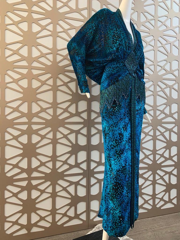 1990s Michael Casey Peacock-Toned Velvet Halter Gown & Bead Fringe Dolman Jacket For Sale 8