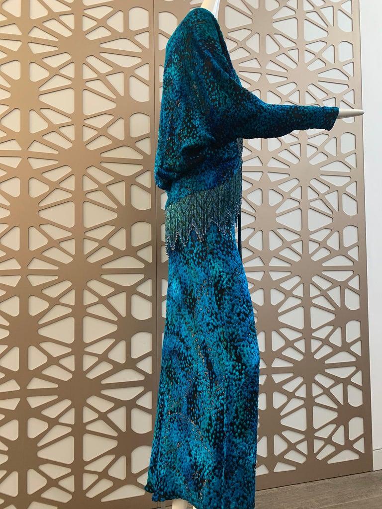 1990s Michael Casey Peacock-Toned Velvet Halter Gown & Bead Fringe Dolman Jacket For Sale 9