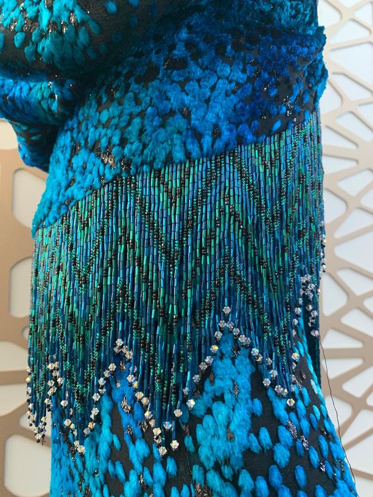 1990s Michael Casey Peacock-Toned Velvet Halter Gown & Bead Fringe Dolman Jacket For Sale 10