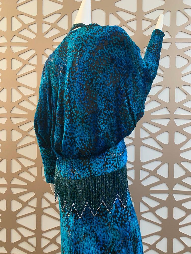 1990s Michael Casey Peacock-Toned Velvet Halter Gown & Bead Fringe Dolman Jacket For Sale 11