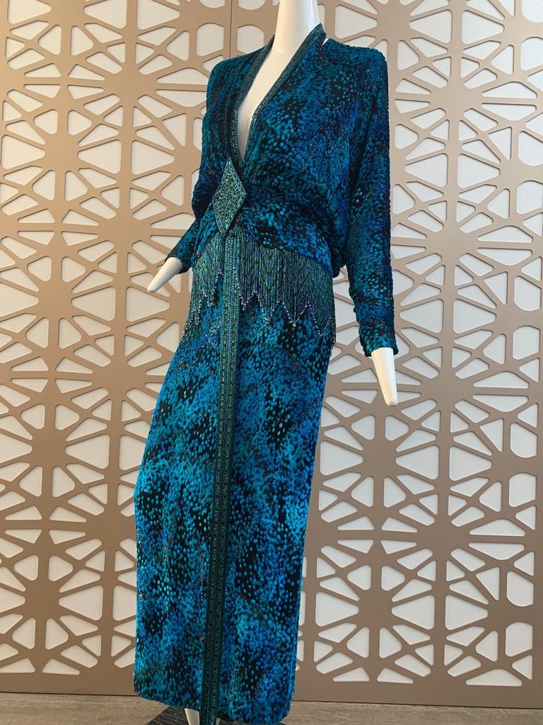 1990s Michael Casey Peacock-Toned Velvet Halter Gown & Bead Fringe Dolman Jacket For Sale 12