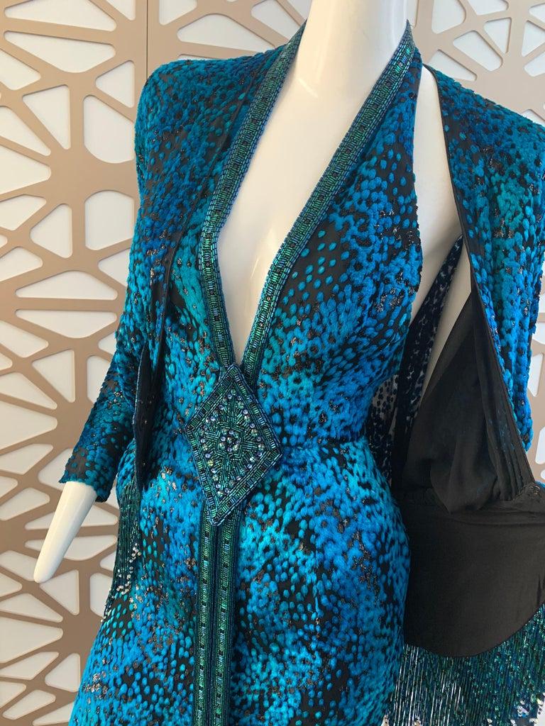1990s Michael Casey Peacock-Toned Velvet Halter Gown & Bead Fringe Dolman Jacket For Sale 13