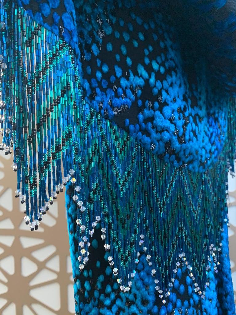 1990s Michael Casey Peacock-Toned Velvet Halter Gown & Bead Fringe Dolman Jacket For Sale 14