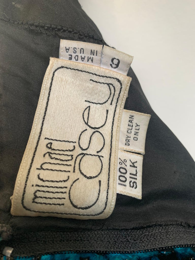 1990s Michael Casey Peacock-Toned Velvet Halter Gown & Bead Fringe Dolman Jacket For Sale 15