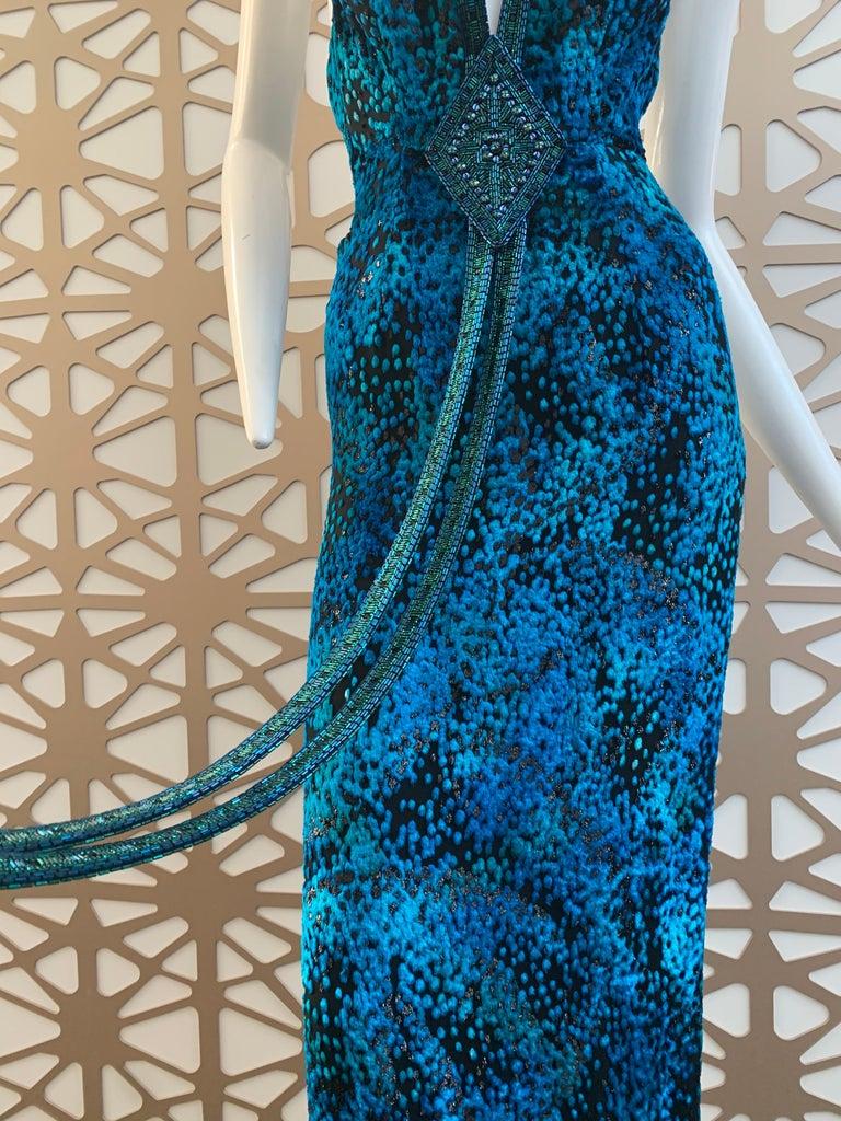 Blue 1990s Michael Casey Peacock-Toned Velvet Halter Gown & Bead Fringe Dolman Jacket For Sale