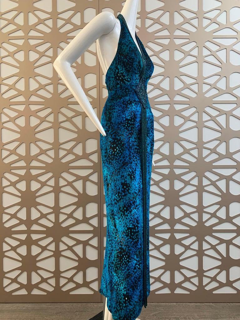 Women's 1990s Michael Casey Peacock-Toned Velvet Halter Gown & Bead Fringe Dolman Jacket For Sale