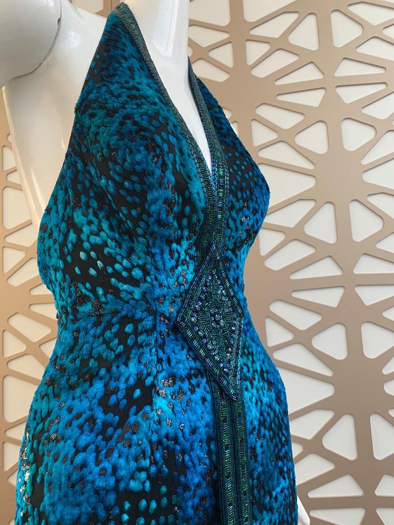 1990s Michael Casey Peacock-Toned Velvet Halter Gown & Bead Fringe Dolman Jacket For Sale 1