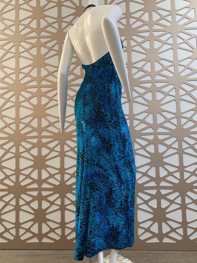 1990s Michael Casey Peacock-Toned Velvet Halter Gown & Bead Fringe Dolman Jacket For Sale 2