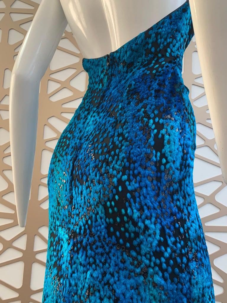1990s Michael Casey Peacock-Toned Velvet Halter Gown & Bead Fringe Dolman Jacket For Sale 3