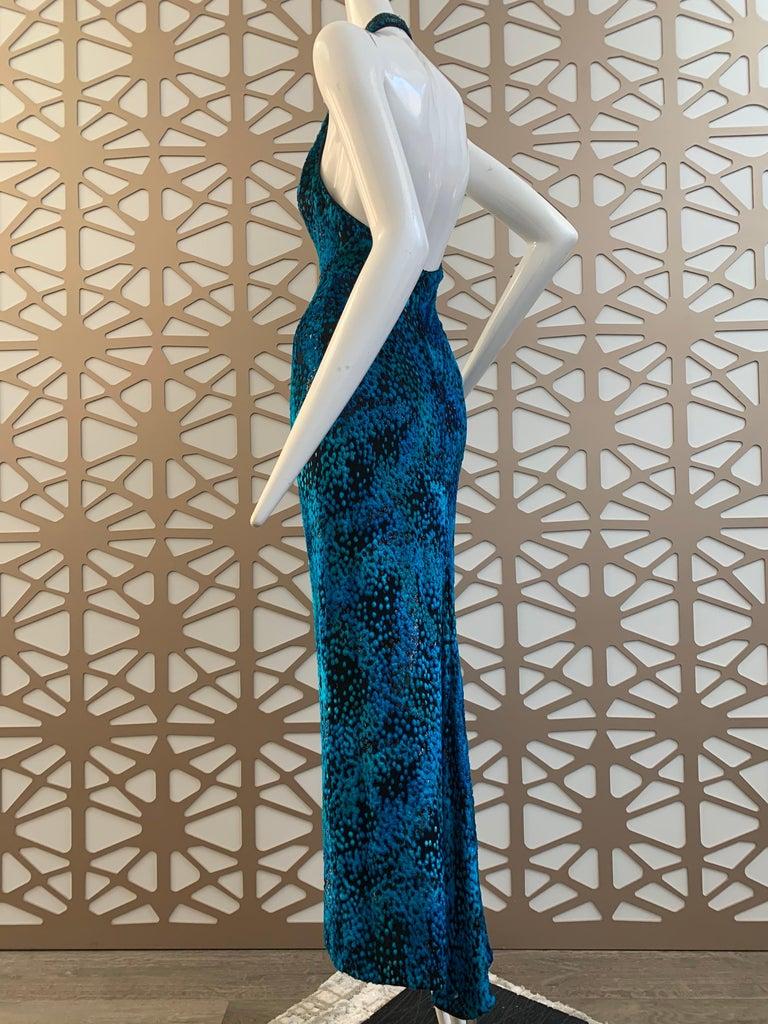 1990s Michael Casey Peacock-Toned Velvet Halter Gown & Bead Fringe Dolman Jacket For Sale 4