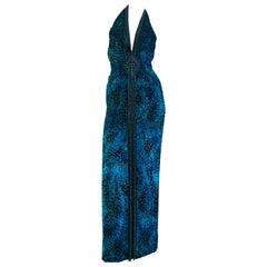1990s Michael Casey Peacock-Toned Velvet Halter Gown & Bead Fringe Dolman Jacket