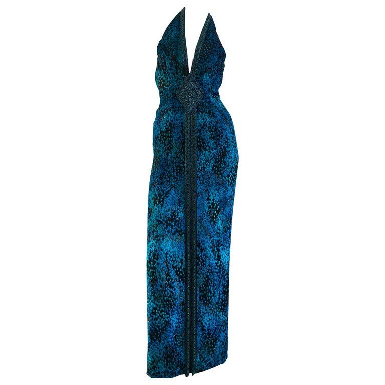 1990s Michael Casey Peacock-Toned Velvet Halter Gown & Bead Fringe Dolman Jacket For Sale