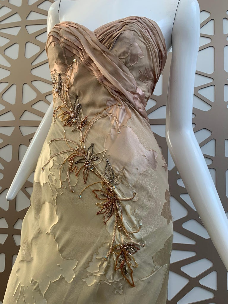 1990s Michael Casey Silk Ombre Botanical-Patterned Strapless Gown W/ Train  In Excellent Condition For Sale In San Francisco, CA