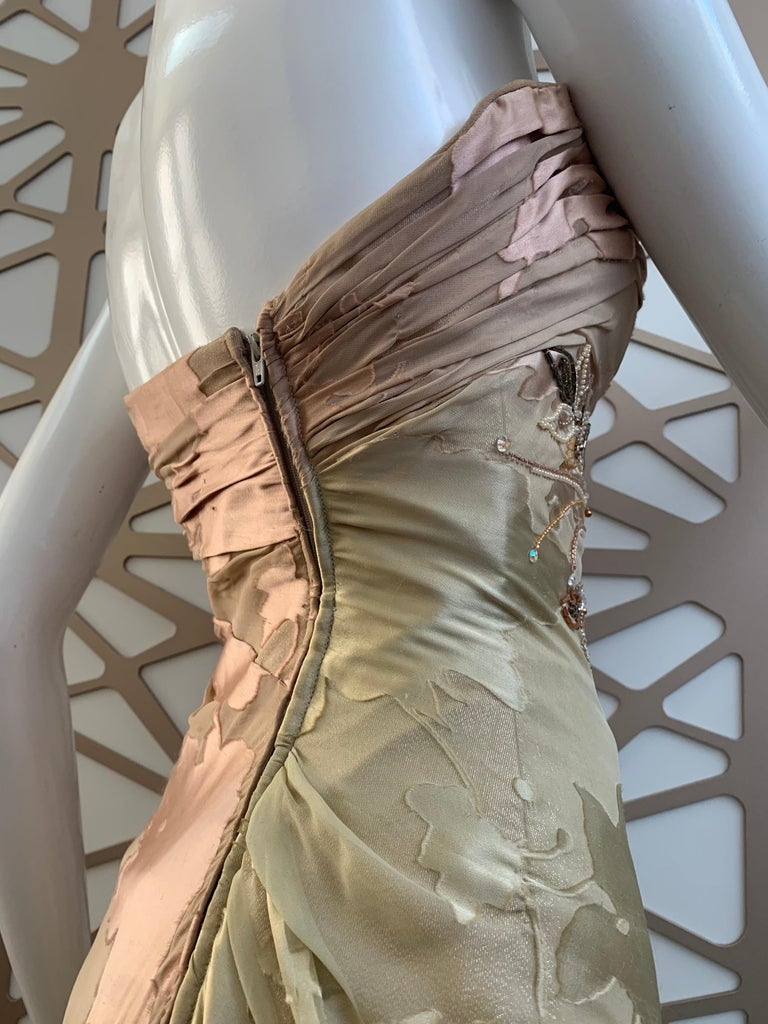 1990s Michael Casey Silk Ombre Botanical-Patterned Strapless Gown W/ Train  For Sale 3