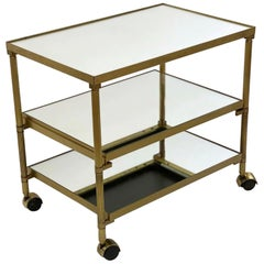 1990s Mid-Century Modern Brass French Bar Cart with 3 Mirrored Shelves