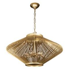 1990s Mid-Century Modern Diamond Shaped Cage Gold Finish Pendant Light
