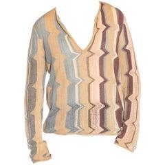 1990S MISSONI Ecru & Brown Linen Blend Knit Sweater