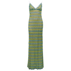 1990s Missoni Green and Blue Crochet Maxi Dress