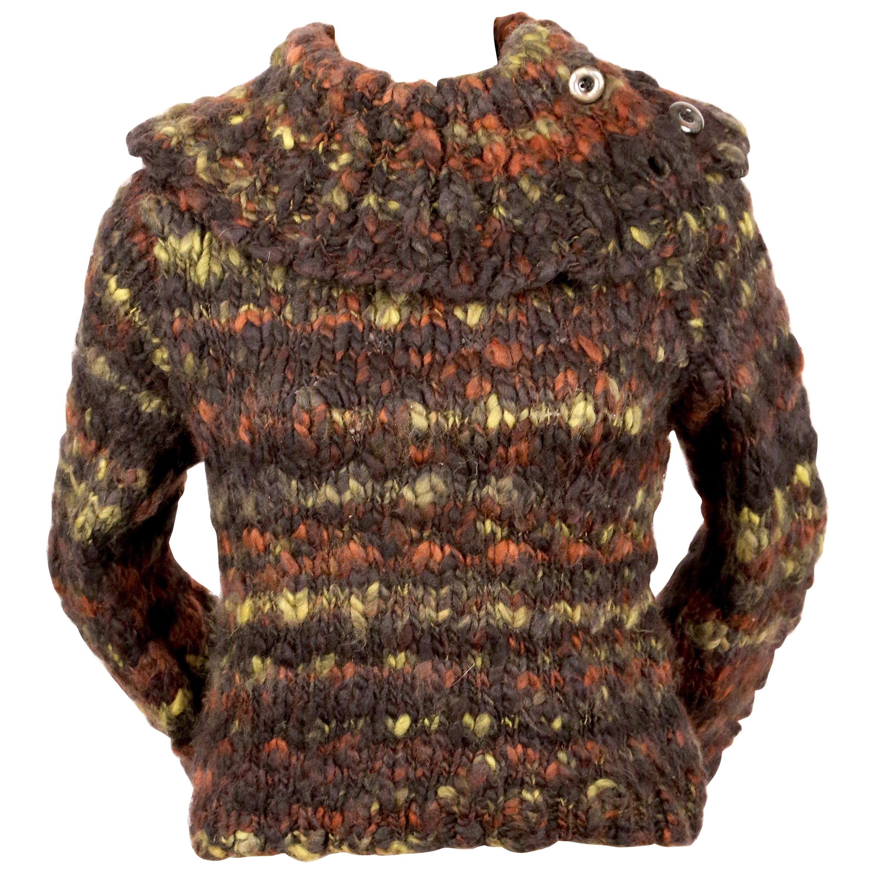 1990's MITSUHIRO MATSUDA chunky hand knit wool sweater with extra long arms