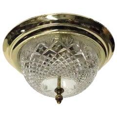 1990s Modern Brass and Cast Glass Flush Mount Light