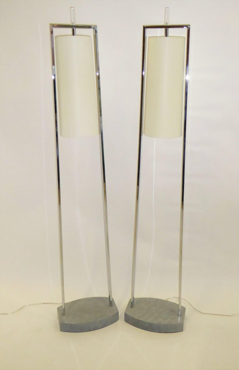 1990s Modern Minimalist Chrome Standing Floor Lamps in the Style of Paul Mayen For Sale 4