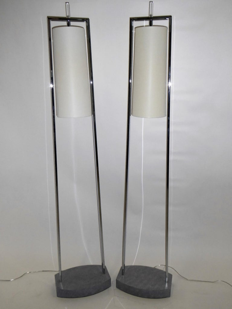 1990s Modern Minimalist Chrome Standing Floor Lamps in the Style of Paul Mayen For Sale 5
