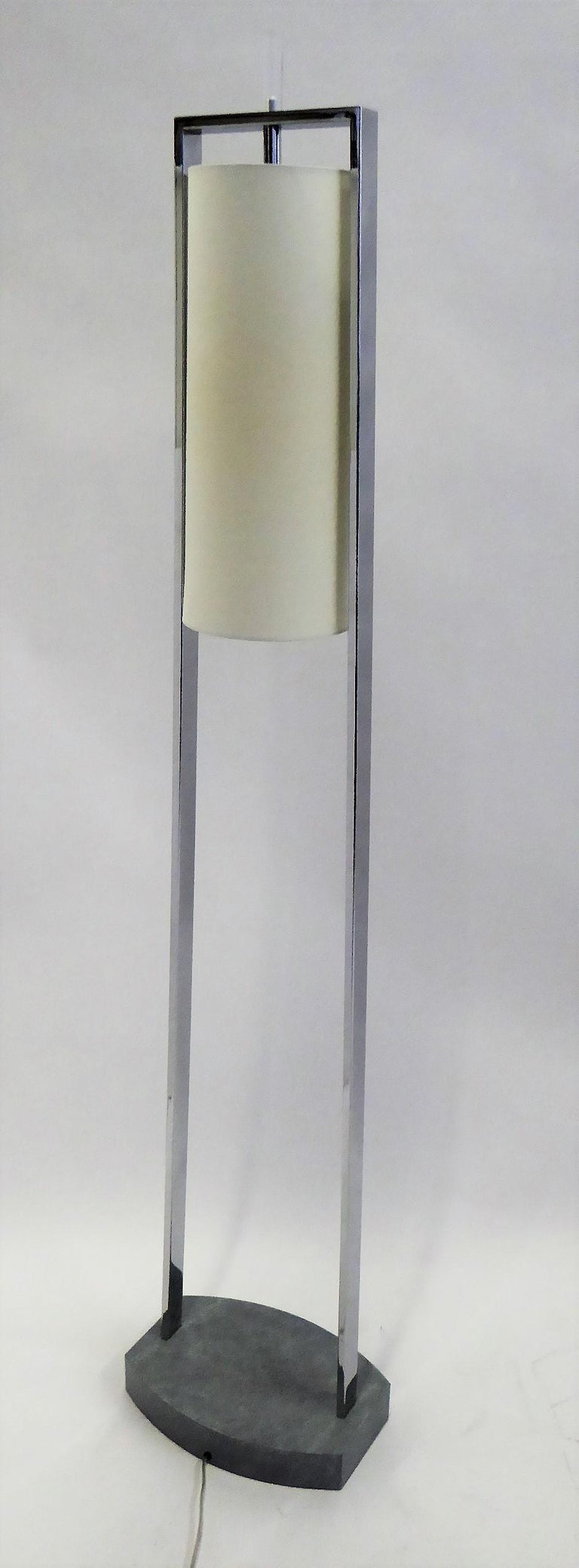 American 1990s Modern Minimalist Chrome Standing Floor Lamps in the Style of Paul Mayen For Sale