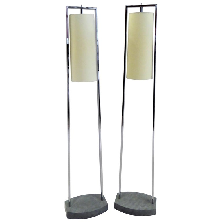 1990s Modern Minimalist Chrome Standing Floor Lamps in the Style of Paul Mayen For Sale