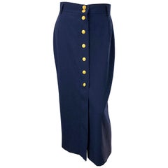 1990s Mondi Navy Blue Gold Buttons Size 38 Vintage 90s Wool Midi Skirt
