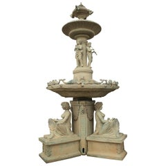 1990s Monumental European Bronze 2-Tier Fountain with Antica Green Patina