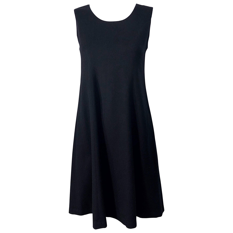 1990s Morgan Le Fay by Liliana Casbal Black Wool Minimalist Vintage 90s Dress