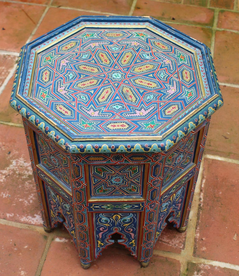 1990s Moroccan Coffee Table Richly Decorated in Arabic Geometric Motifs at 1stdibs